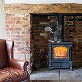 SOWLFE Upgrade designte Kamine Herdlüfter, automatische Anpassung Wärmebetriebener Herdlüfter Mit Temperaturaufkleber, Temperaturerkennung für Holzkamin
