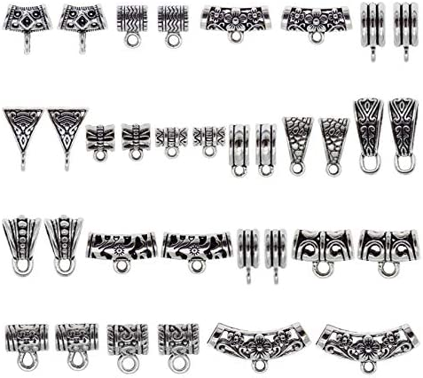 170pcs Mixed Tibetan Silver Tube Bail Pendant Spacer Bead Hanger with Loop Charm Holder for product image