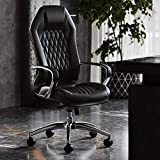 Modern Ergonomic Sterling Genuine Leather Executive Chair with Aluminum Base- Black