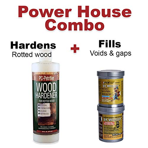 PC Products Woody Wood Repair Epoxy Paste, Two-Part 12 oz, and PC-Petrifier Wood Hardener 16 oz, Kit, 1216