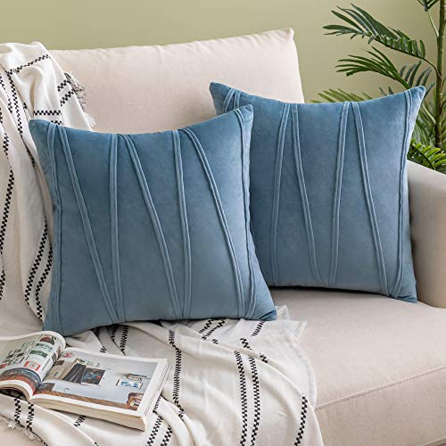 Woaboy Decorative Striped Velvet Throw Pillow Covers Soft Solid Cushion Covers Square Pillowcases for Bed Sofa Couch Car Living Room 2 Pieces 18x18inch 45x45cm Light Blue