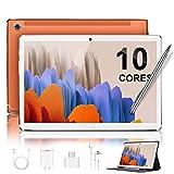 5G Tablet 10.8'' Pulgadas Deca-Core 4GB de RAM 64GB/512GB de ROM Android 10.0 Certificado por Google GMS 2.3Ghz Tablet PC Batería 8000mAh LTE Dual SIM Dual Cámara 8MP+16MP WiFi/Bluetooth/GPS(Naranja