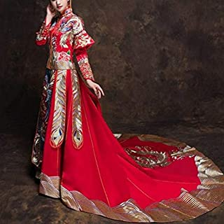 LENSAH Ancient Chinese Embroidered Phoenix Wedding Dress Traditional Cheongsam, Size:M(Simple) Q (Color : Trailing)
