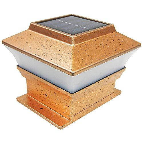 iGlow 12 Pack Copper Outdoor Garden 4 x 4 Solar LED Post Deck Cap Square Fence Light Landscape Lamp Wood Bronze