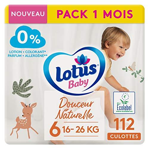 Lotus Baby Douceur Naturelle – Höschen Größe 6 (16 – 26 kg) Pack 1 Monat – 112 Slips