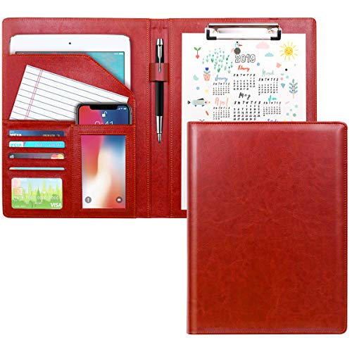 WAVEYU Padfolio Business/Resume Portfolio Folder, Leather Interview Portfolio Business Portfolio Portfolio Organizer with Legal Pad Folder Clipboard,Interview Folder for Men/Women, red