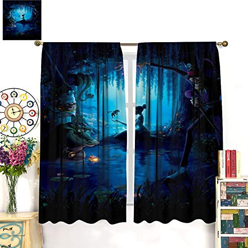 DRAGON VINES Princess and The Frog Children's Animation Moving Door Blackout Curtain Children's Room Bedroom Living Room bar 72x63inch(183x160cm)
