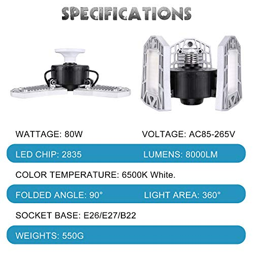LED Garage Lights 80W Deformable 2 Pack 8000LM Three Leaf Triple Glow Close to Ceiling Light Fixtures E26 E27 Screw in Lighting for Work Shop Warehouse Low Bay New Arrival, No Motion Activated 6