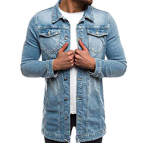 PRJN Herren Große Große Jeans Jeans Trucker Jacke Klassische Western Coat Top Herren Jeansjacke Casual Fashion Langarm Westernjacke Frühlings- und Herbst Herren Jeansjacke Casual Tops für Herren