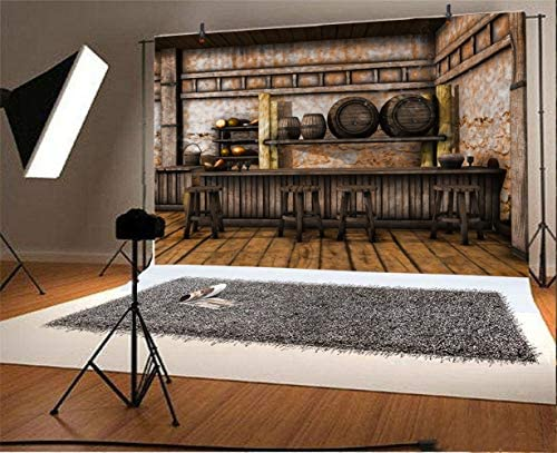 6.5x10ft Western Saloon Door Backdrop Country Farmhouse Wild West Farm Land Wood Buildings Tavern Pubs Gate Horse Barn Photography Background for Portrait Travel Photo Studio Props