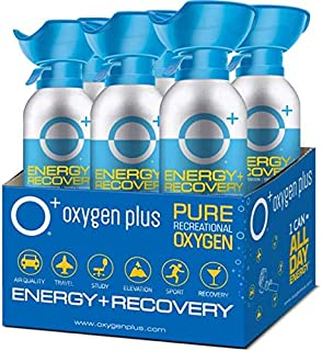 Oxygen Plus FDA-Registered Facility-Filled 99.5% Pure Recreational Oxygen Cans - O+ Biggi 6-Pack - Each Portable Oxygen Canister is 220+ Breaths, 11 litres - Restore Oxygen Levels w/Canned Oxygen