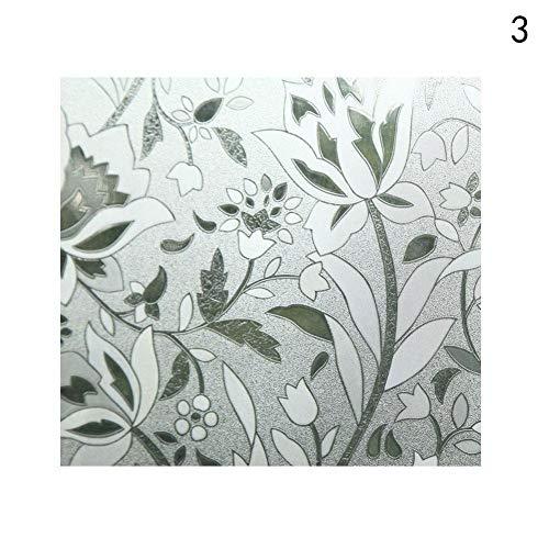 Emmala Statische zelfklevende blikdichte raamfolie glasfolie voor badkamer slaapkamer uniek decoratie (bloemen)