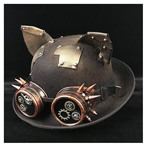 SSLA Moda Steampunk Hat Mujeres Hombres Steampunk Bowler Hat Gorro Gafas Gafas Topper Top Hat Fedora Billycock Groom Groom Jazz Hat Hat (Color : Black JD, Size : 57-58cm)