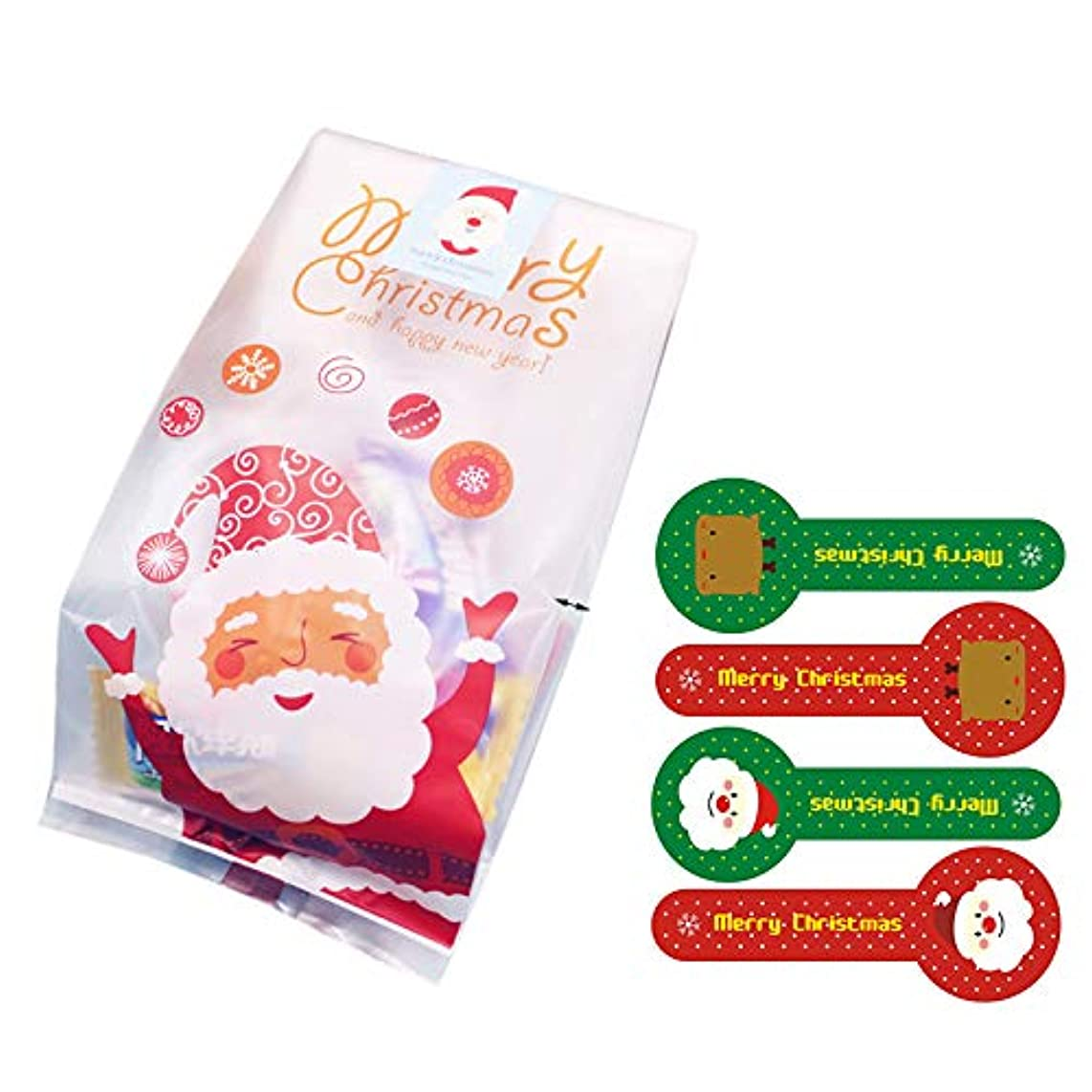 Christmas Treat Bags 50pcs Cellophane Bag for Candy Biscuit Gift Wrap Cellophane Bag with Sealing Stickers