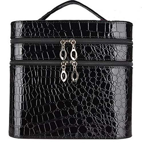Lady Cosmetic Case Fashion Crocodile Pattern Cosmetic Bag Professional Beautician Makeup Bag Jewelry Necklace Storage Box