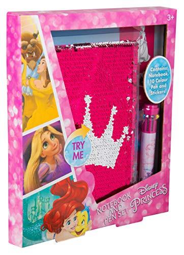 Sambro DSP16-6836 - Taccuino in Formato A5, Motivo: Principesse Disney, con Paillettes e Penna con 10 Colori, Multicolore