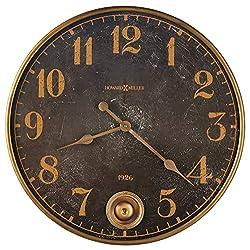 Howard Miller Union Depot Wall Clock 625-733 – Brass Finished Metal Frame, Aged Black Dial, Antique Home Décor, Brass Finish Pendulum, Quartz Movement