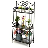 MyGift 45-Inch Freestanding 3 Tier Foldable Metal Plant Stand Shelf Rack, Home Décor Display Shelf Bookshelf with Scrollwork Design