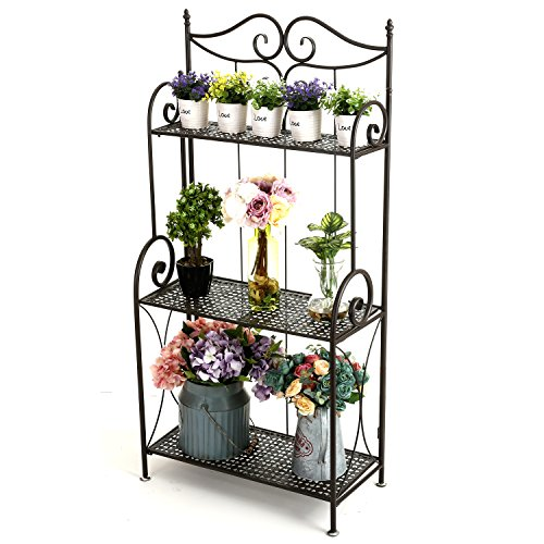 45-Inch Freestanding Scrollwork Design Metal Foldable 3-Tier Plant & Home Décor Display Stand Rack/Book Shelf