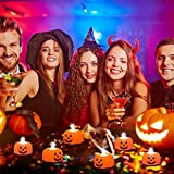 12 Pcs Kürbis Teelichter Kerzen,3D Halloween Kürbis Lichter,Kürbis Kerzen Flammenlose,Halloween Teelicht Deko Pumpkin,LED Flammenlose Kerzen für Halloween Deko,Hochzeit Party, Weihnachten(Smiley) - 6