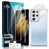 LϟK 5 Pack Protector de Pantalla para Samsung Galaxy S21 Ultra 5G 6.8 Pulgada con 2 Pack HD Película de TPU y 3 Pack Protector de Lente de Cámara - Sin Burbujas Huella Digital Ultrasónica