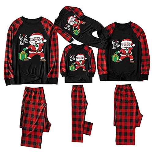 Family Matching Outfits Christmas Pajamas Set Santa & Gift Printed Xmas Sleepwear Homewear Pj for Pet Baby Kids Mom Dad