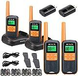 Retevis RT49 Walkie Talkie Adult Rechargeable,Waterproof Two Way Radio Long Range,NOAA Weather Alert AA Battery Flashlight,2 Way Radio for Outdoor Cruise Camping(4 Pack)