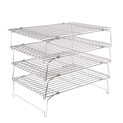 Flagship Cooling Baking Rack Set of 4, 100% 304 Stainless Steel Wire Baking Rack, Stackable Cooling Cooling Roasting Cooking - 14.4''x10.43''