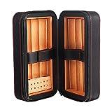 Caja De Cigarros Cigarro De Cuero Portátil De Viaje Fijado Directamente En El Humidificador Cortador De Cigarros Más Ligero
