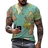 Shirt Hombre Moderno Urbano Básico Cuello Redondo Ajuste Regular Hombre Casuales Camisa Verano Único Creativo Estampado Hombre Camiseta Diaria Casual All-Match Manga Corta F-006 XL