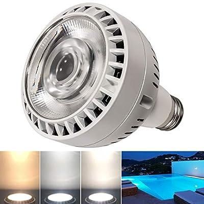 Bonbo 120V 60W LED Pool Light Bulb Hue Adjustable & 3 Color Modes, 6000k Bright Daylight White & 4000k Soft White & 3000k Warm White Dimmable LED Swimming Pool Bulb E26 Base (2020 Upgrade)