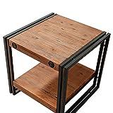 Mesa auxiliar/de sofá, estilo industrial, de madera de acacia maciza y metal–Colección Workshop