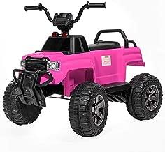 ihubdeal 12V Ride On Toy Car 4 Wheeler Quad Truck 2-Speeds Spring Suspension LED Light MP3 Multi-Function Player LED Light - Pink