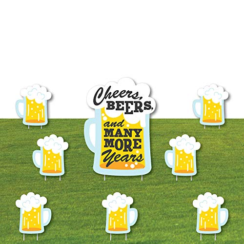 Big Dot of Happiness Funny Prank Cheers, Beers, and Many More Years - Yard Sign and Outdoor Lawn Decorations - Birthday Yard Signs - Set of 8