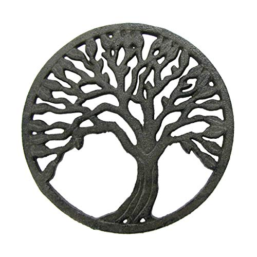 Treasure Gurus Rustic Metal Tree of Life Oven Trivet Hot Stove Pot Pan Holder Chakra Healing Wall Art Decor
