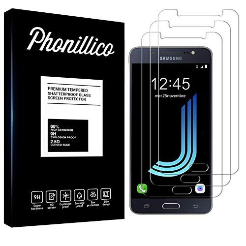 PHONILLICO [Pack de 3] Verre Trempe pour Samsung Galaxy J5 2016 SM-J510 - Film Protection Ecran Verre Trempe Ultra Resistant [Lot de 3] Vitre Protecteur Anti Rayure sans Bulle d'Air Dureté 9H