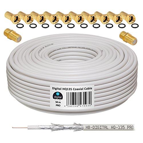 130dB 50m Koaxial SAT Kabel HQ-135 PRO 4-Fach geschirmt für DVB-S / S2 DVB-C und DVB-T BK Anlagen + 10x vergoldete F-Stecker UND 2X F-Verbinder Gratis dazu