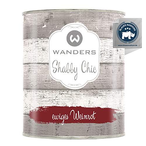 Wanders24® Kreidefarbe (750 ml, ewiges Weinrot) Holzfarbe für Shabby Chic Look - Möbelfarbe einfach zu verarbeiten - Möbellack auf Wasserbasis - Made in Germany