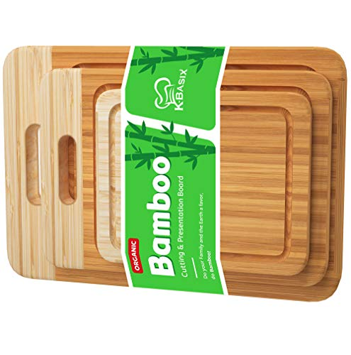 K BASIX Bamboo Cutting Board Set with Groove (3 Pcs) Premium Quality...