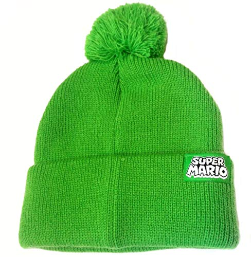 Super Mario Bros Luigi Pom Pom Knit Hat Beanie Green
