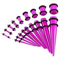 拡張器 エキスパンダー アクリル ボディピアス 耳拡張 ボディーピアス キット 全6色 18個セット - 紫の