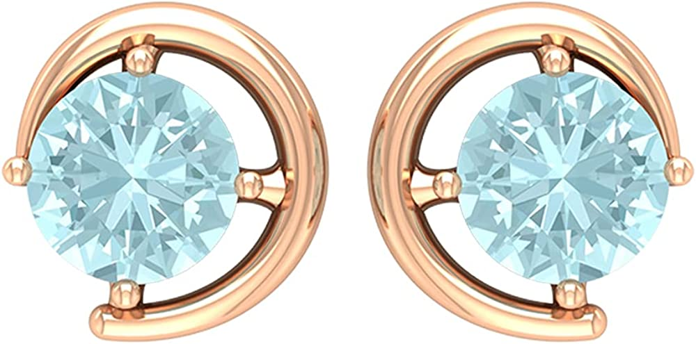 5X5 MM Sky Blue Topaz Solitaire Stud Earring,14K Rose Gold,Sky Blue Topaz