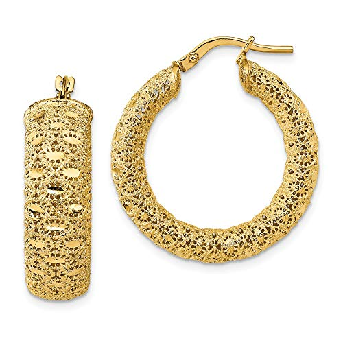 Leslie's - Orecchini a cerchio in oro giallo 14 ct, 25,75 x 25,75 mm