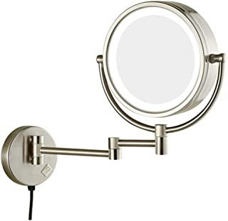 Makeup/Vanity Mirror with LED Light, Wall Mount Makeup Mirror 3X Magnifying Vanity Mirror Extendable 360° Swivel Bathroom Mirror Cosmetic Mirror Powered by Plug,Metal Color