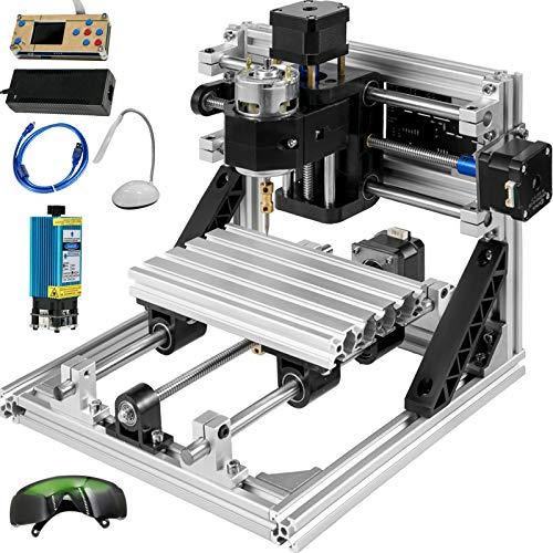 VEVOR Fresadora CNC 1610 Máquina de Grabado de 3 Ejes Fresadora Kit de Enrutador CNC 500mw Láser USB y Control Sin Conexión