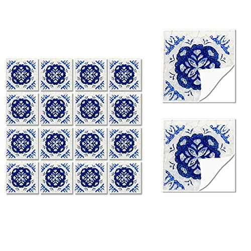 HUSTLE Plaza de Vinilo Azulejos, Auto Adhesiva Pared de la Etiqueta engomada del azulejo para la decoración casera 36 Piezas Watercolor 10x10cm