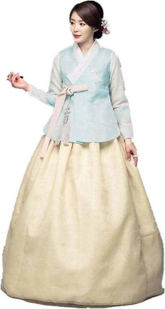 Korean Hanbok Dress Custom Made Korean Traditional Bride Wedding Hanbok Dress Korean High Waist Hanbok Blue