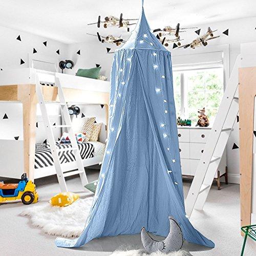 Baby baldaquino cama Cielo Niños bebés cama algodón Distressed moskiton para dormitorio vestuario parte Tiempo de lectura Altura 240cm dobladillo longitud 270cm azul azul