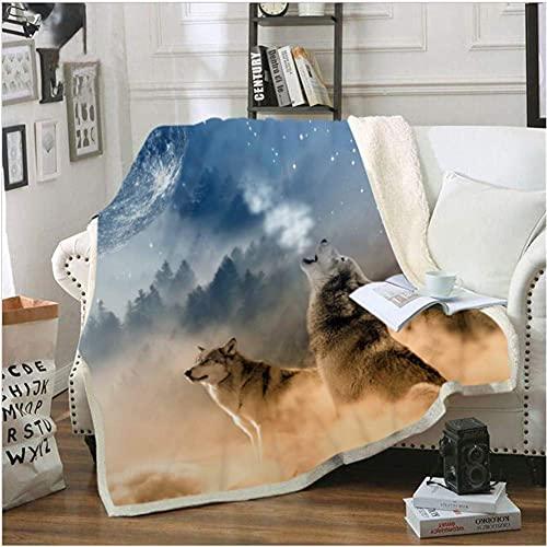 Manta con estampado de lobo 3D, cómoda, cálida, suave, acogedora, manta de forro polar, manta de sofá, manta reversible, manta de TV, regalo de cuidado cómodo, 50 x 40 pulgadas