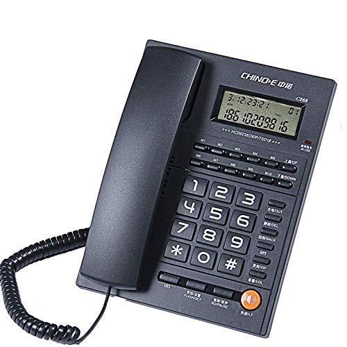 WBDZ Botón Grande Teléfono con Cable Teléfono inalámbrico para el hogar Teléfono para el hogar Teléfono Fijo Identificador de Llamadas Negro Blanco (Color: Negro)